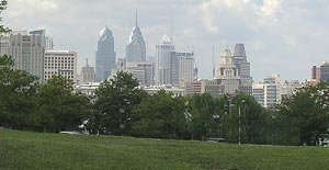 View of Philadelphia skyline from Dr. Ulysses Wiggins Waterfront Park in Camden