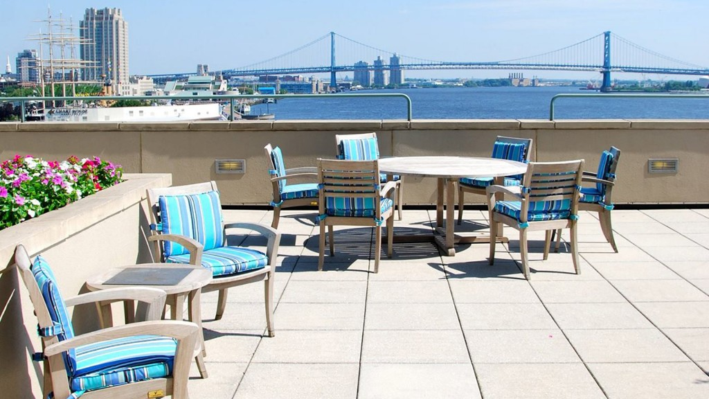Our outdoor terrace overlooking the river & the Ben Franklin Bridge