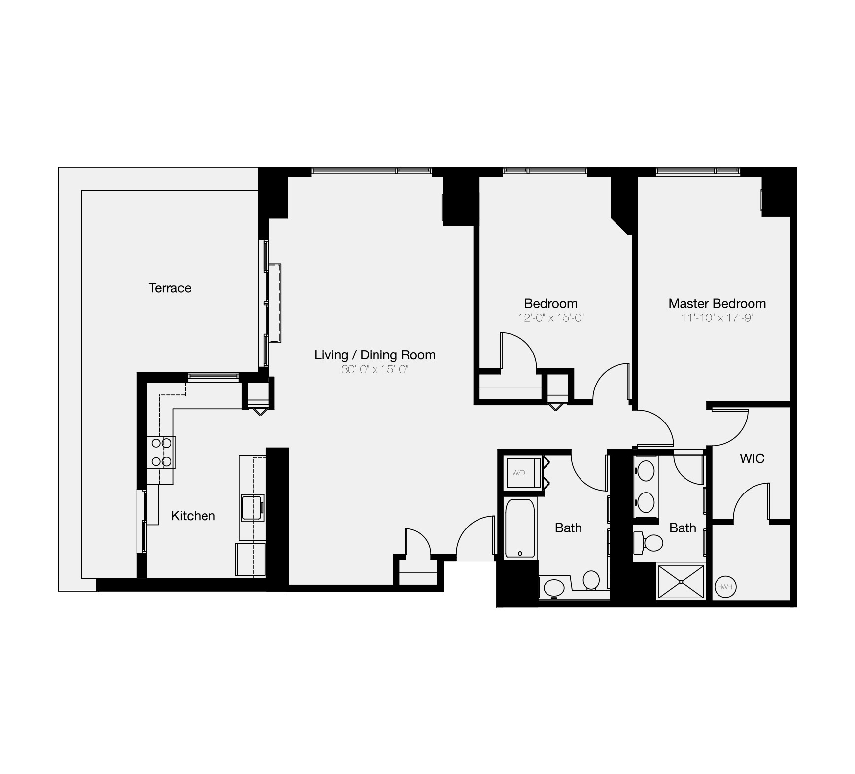 Two-bedroom floor plan at The Residences of Dockside condos for sale