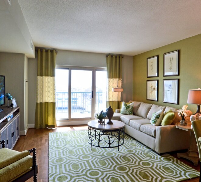 Living room of Philadelphia waterfront condo for sale