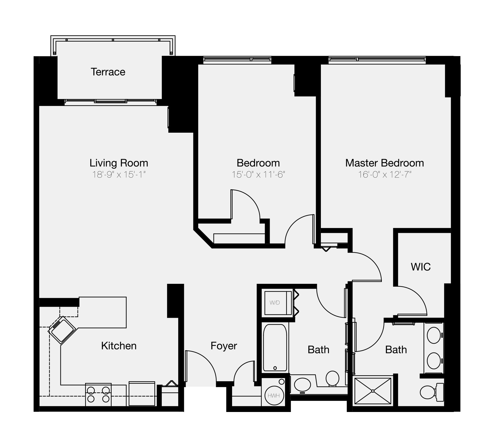 Two-bedroom floor plan of luxury Philadelphia condo for sale