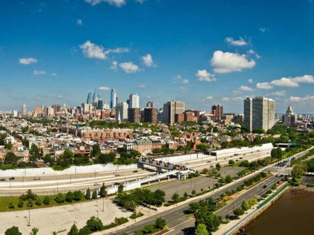 View of the Philadelphia Skyline from a West End Condo at The Residences at Dockside