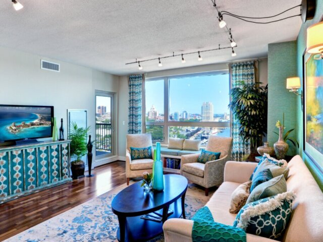 Living room at The Residences of Dockside condos for sale in Old City, Philadelphia