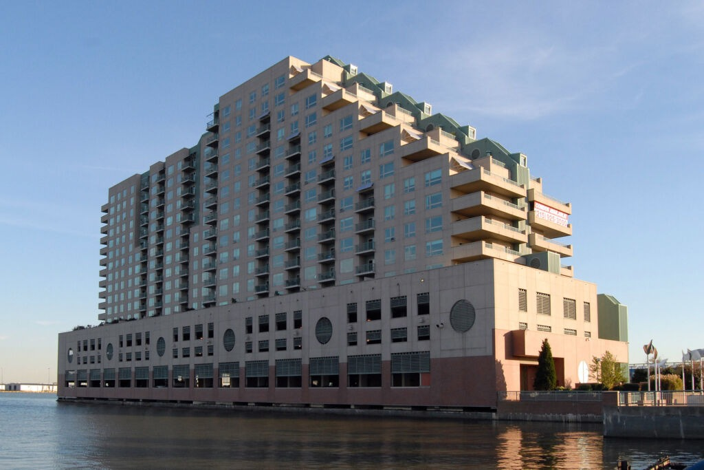 Exterior photo of The Residences at Dockside on a beautiful sunny day.