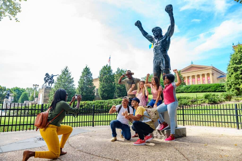 Tourists at the Rocky Statue in Philadelphia