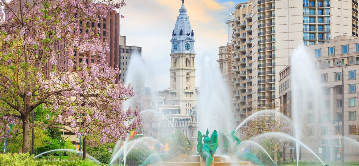 Swann Memorial Fountain With City Hall In The Background