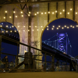 Photo of the Benjamin Franklin Bridge at the Cherry Street Pier