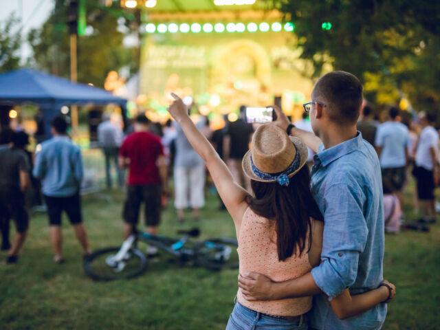 Couple watching live music